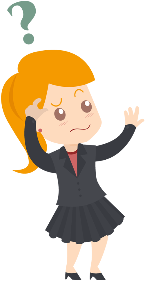 Cartoon business woman feeling. Confused clipart lost item