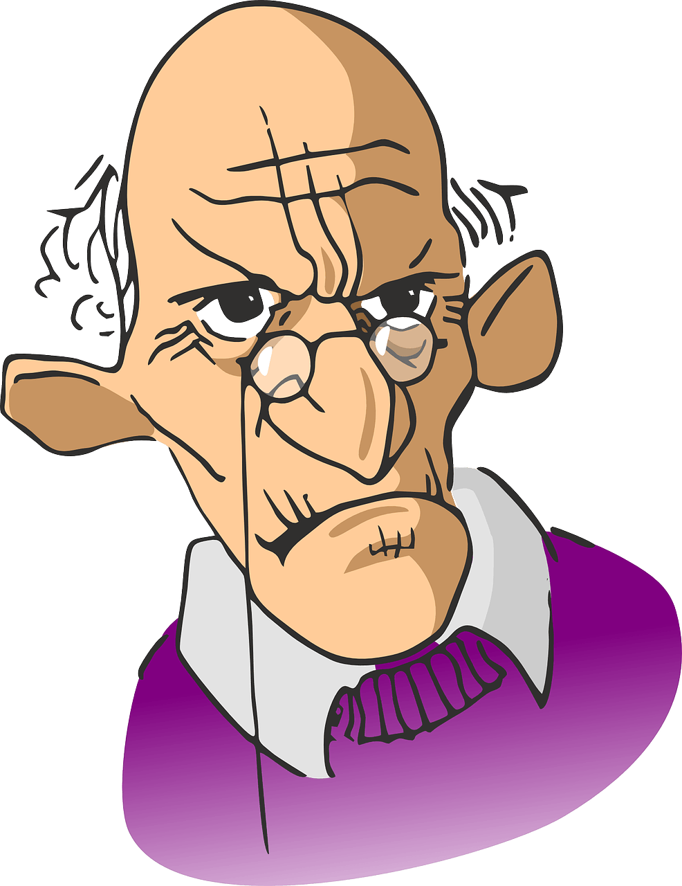 Confused clipart man. Old retired person pencil