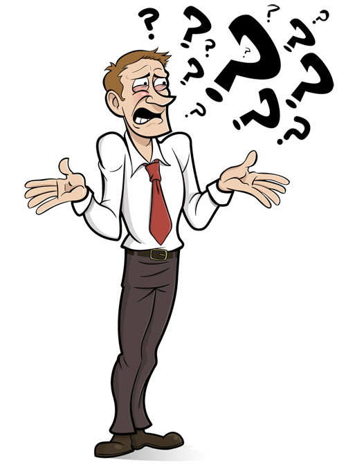 Cartoon picture of someone. Confused clipart man