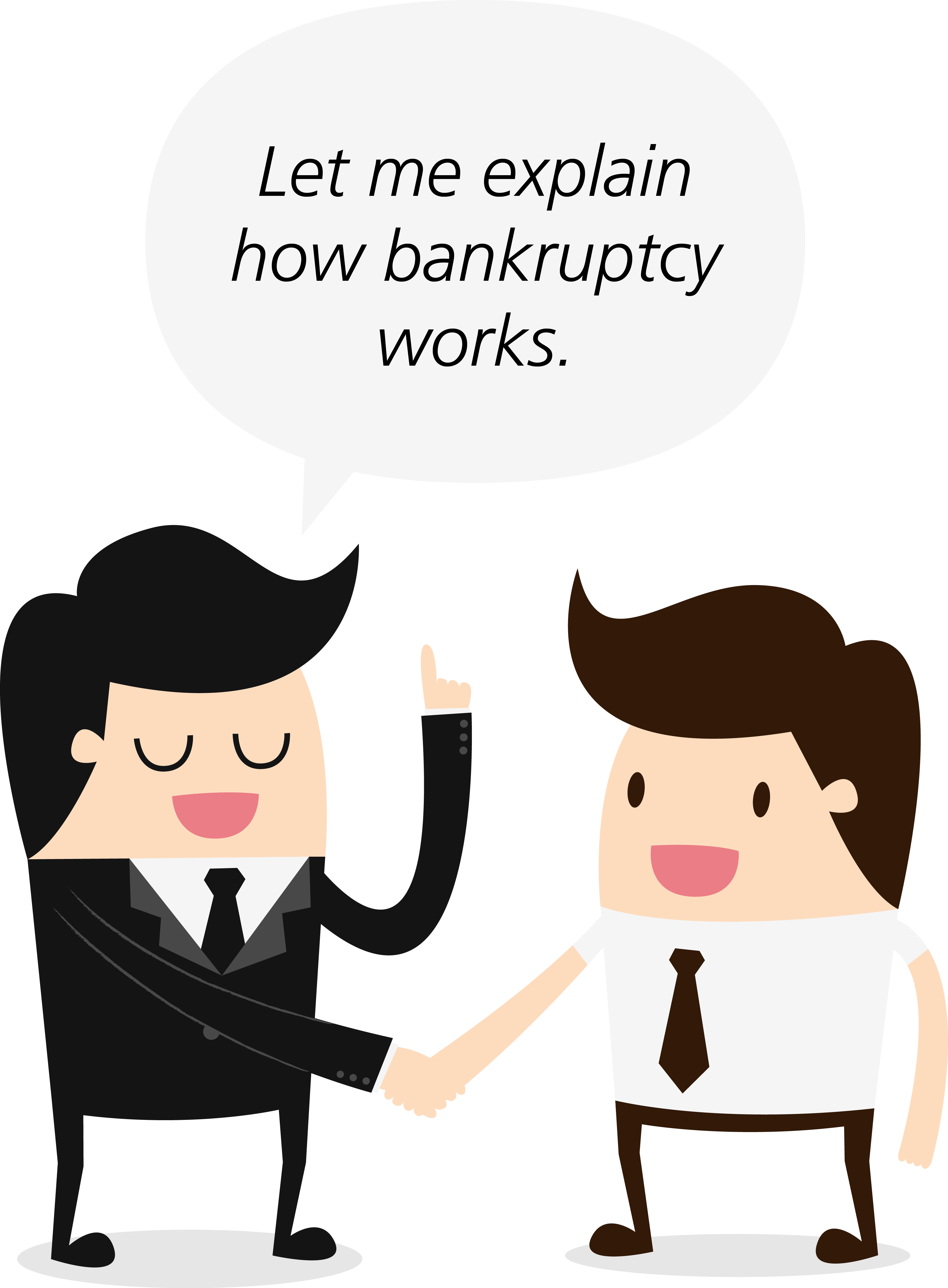 Confused clipart misunderstanding. The impact of bankruptcy