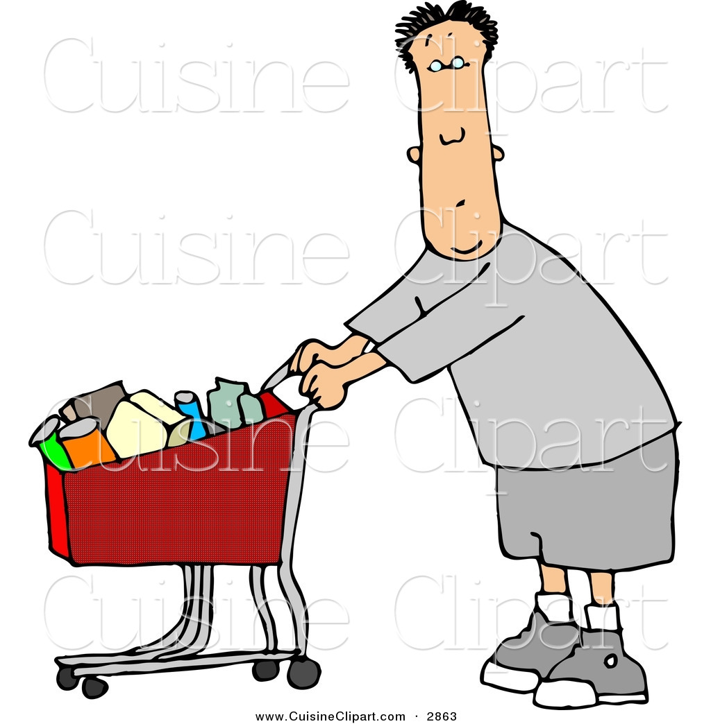 Grocery clipart man. Cuisine of a confused