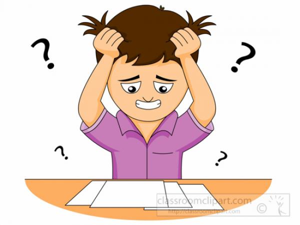 Student confusion in the. Confused clipart test papers