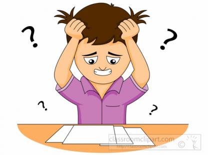 Confused clipart test papers. Student confusion in the