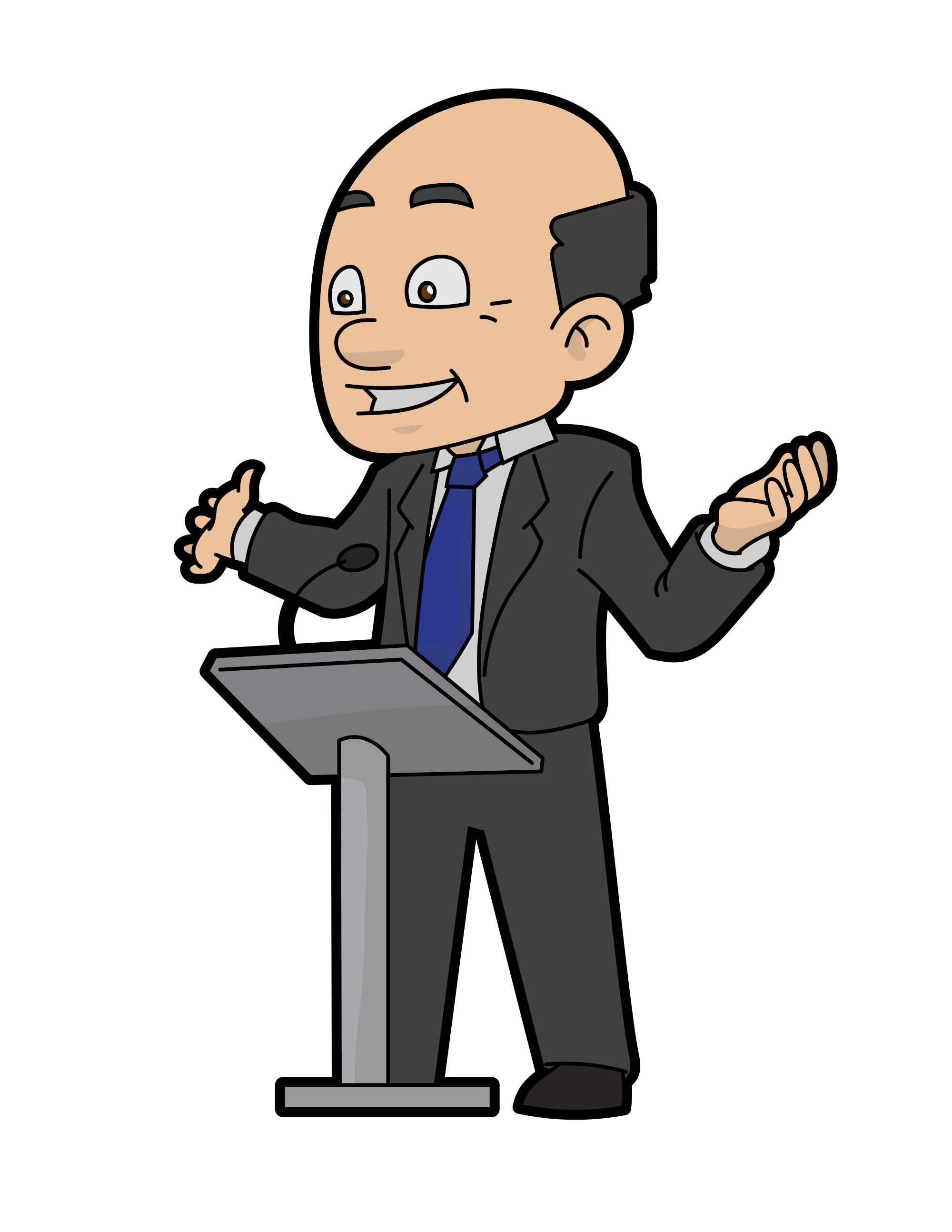 Confident speaker frames illustrations. Politics clipart speech delivery