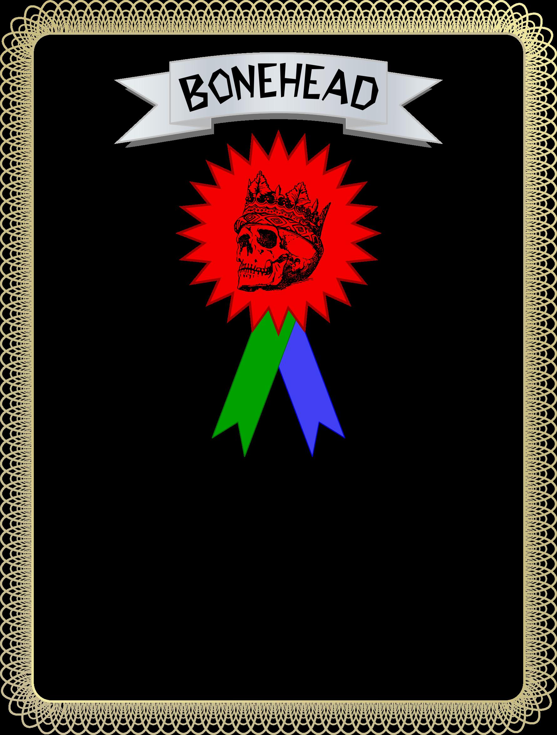 Congratulations clipart certificate. Bonehead award big image