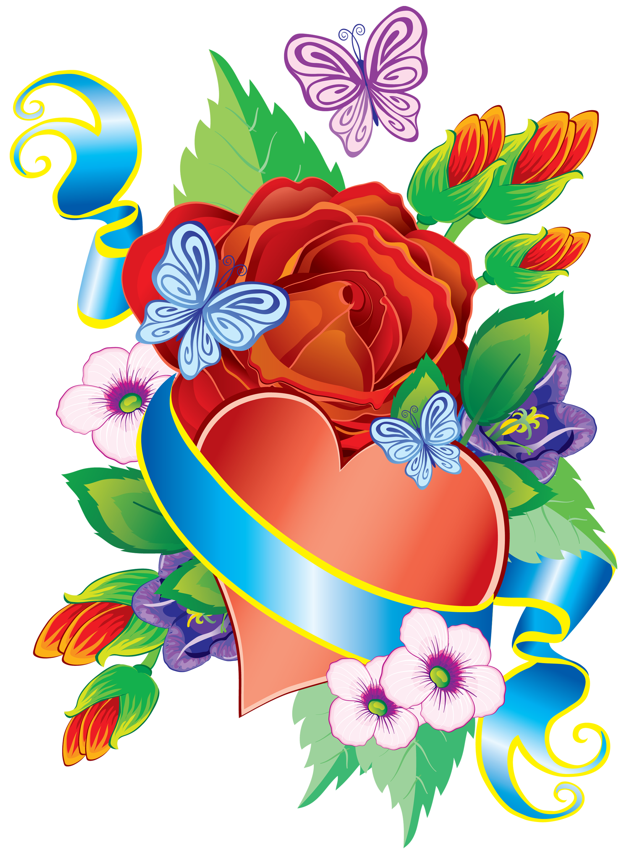 Heart and flowers png. Windy clipart huff