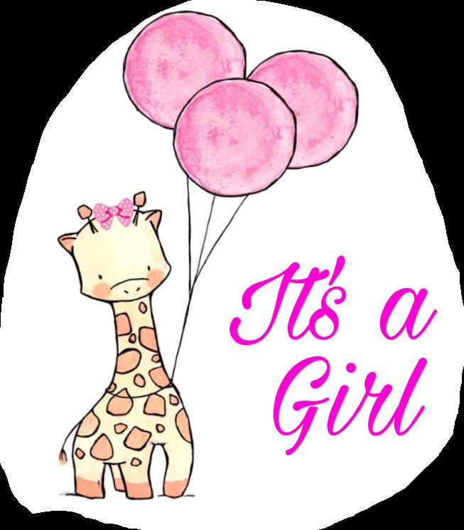 Giraffe itsagirl girl. Congratulations clipart sticker