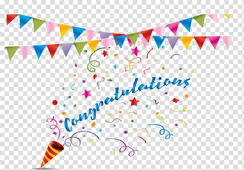 Congratulations party popper confetti. Streamers clipart congratulation