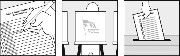 Voting at a . Election clipart polling place