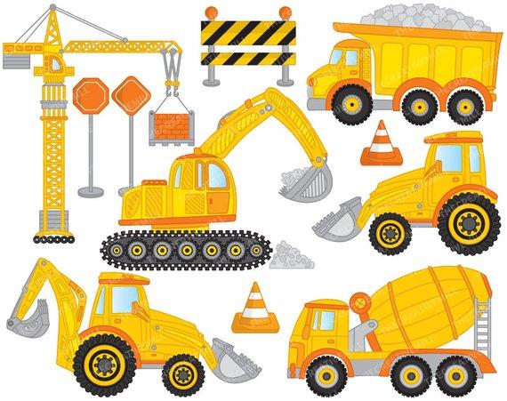Construction clipart. Vector crane truck digger