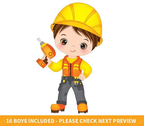 Pin on teez stuff. Contractor clipart boy