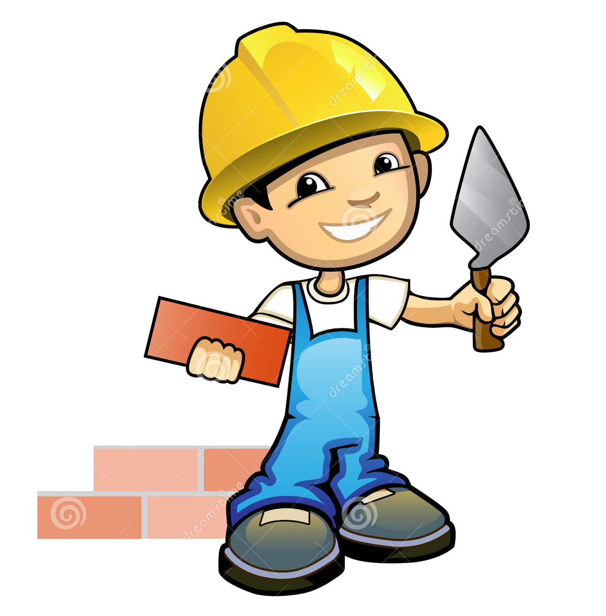 Bricklayer stock photography masonry. Contractor clipart boy