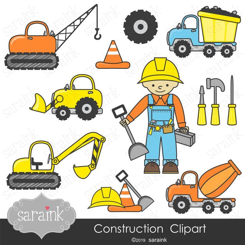 Construction clipart construction business. Party digital clip art