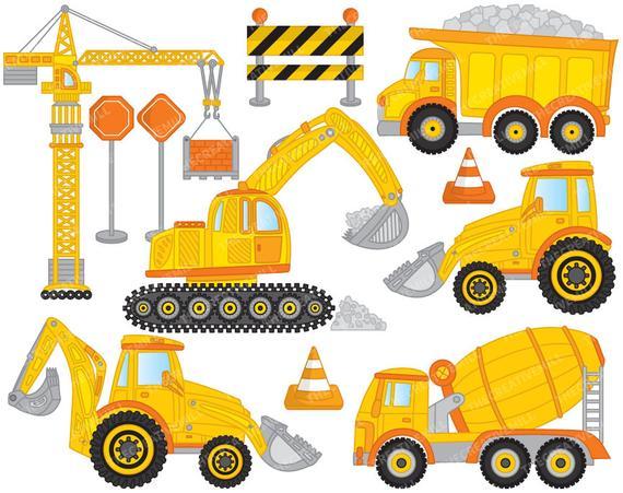 Excavator clipart construction vehicle. Vector crane truck digger