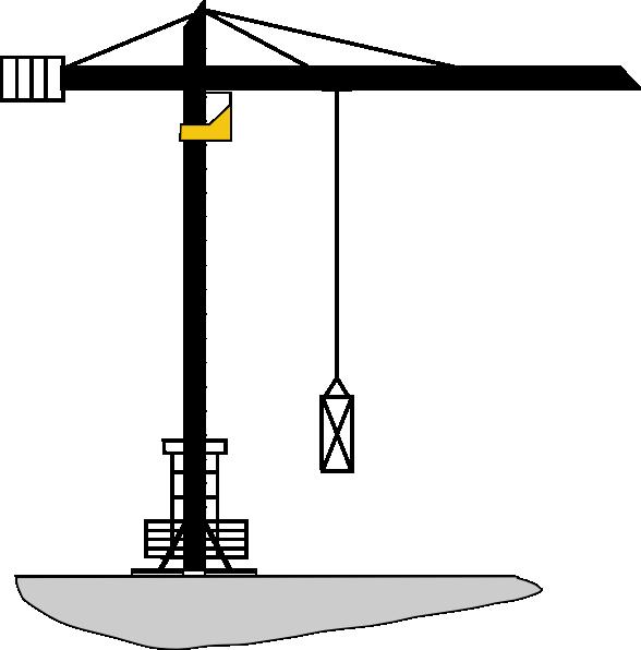 Crane clipart constuction. Mostly black clip art