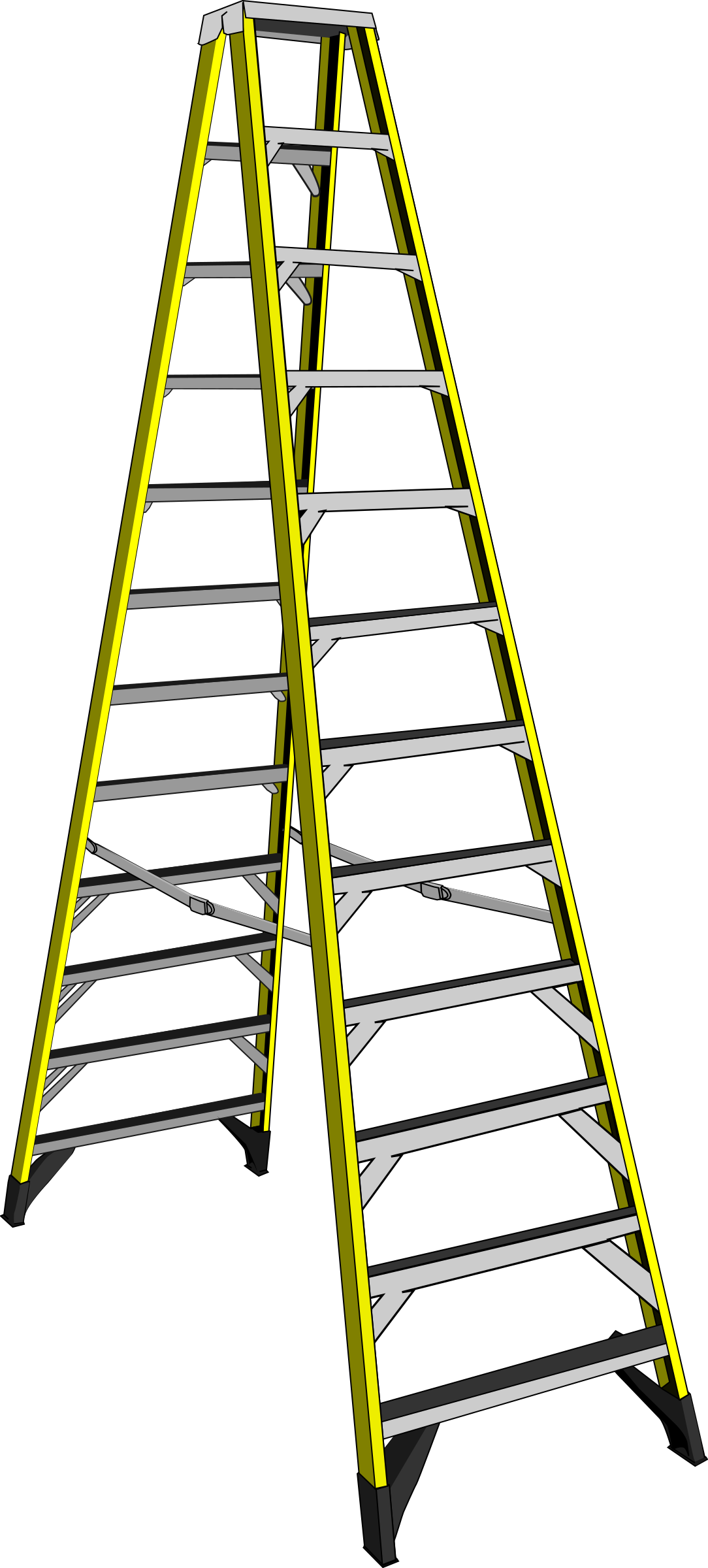 Ladder clipart tall ladder. Group large yellow