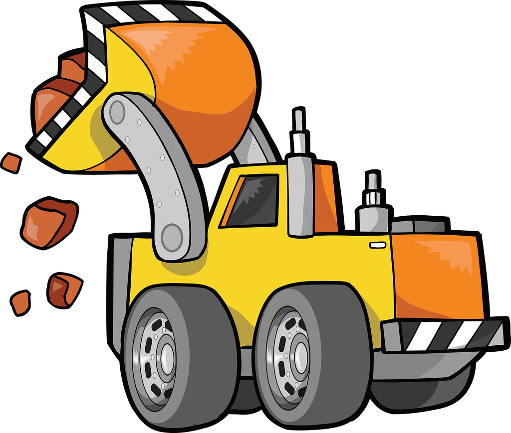 Front loader tractor rocks. Moving clipart rock