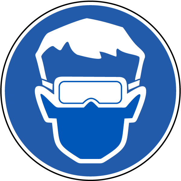 Wear eye protection label. Goggles clipart ppe