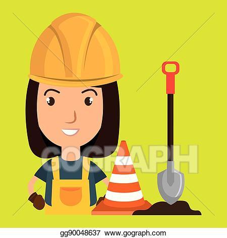 Construction clipart shovel. Vector stock woman warning