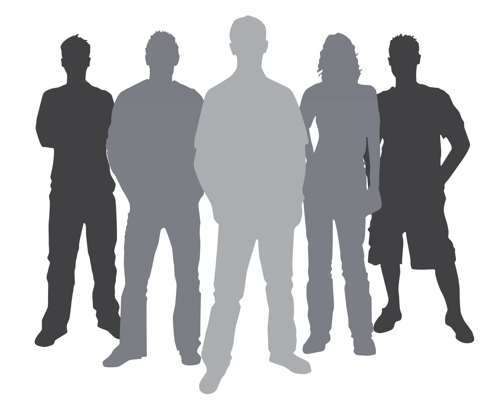 Business team silhouette at. Teamwork clipart person