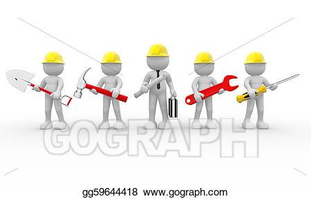 Stock illustration team drawing. Teamwork clipart construction