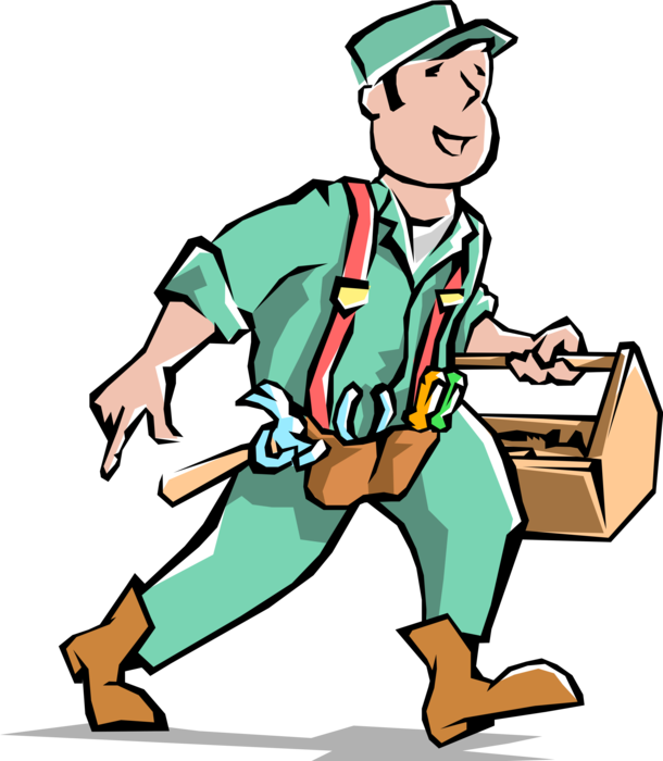 Tool clipart handy man. Handyman with carpentry toolbox