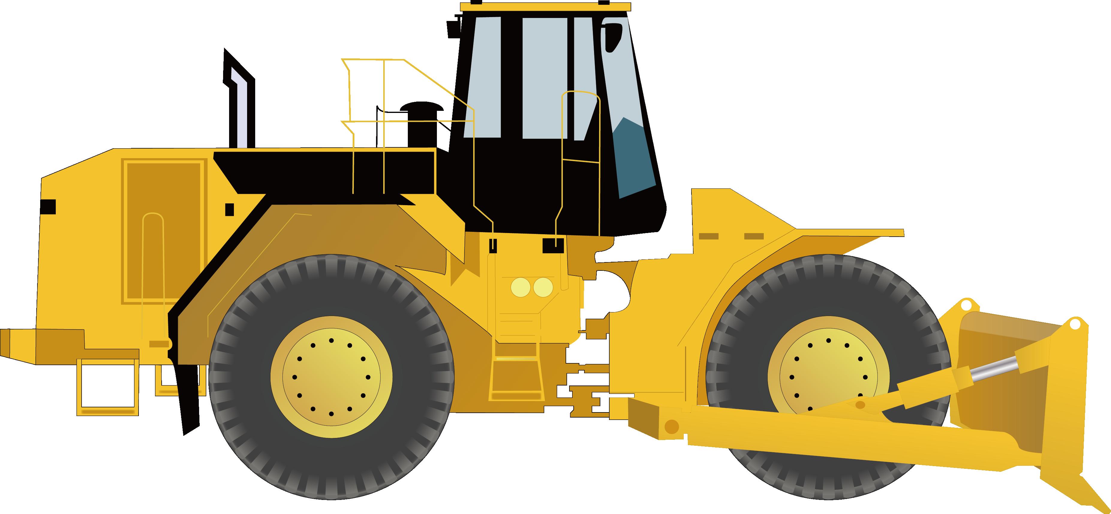 Heavy equipment tractor municipal. Excavator clipart loader