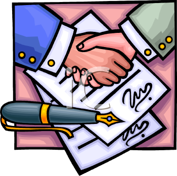 Signing . Contract clipart