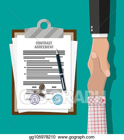 Vector agreement paper and. Contract clipart handshake