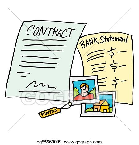 Vector art legal contract. Evidence clipart statement