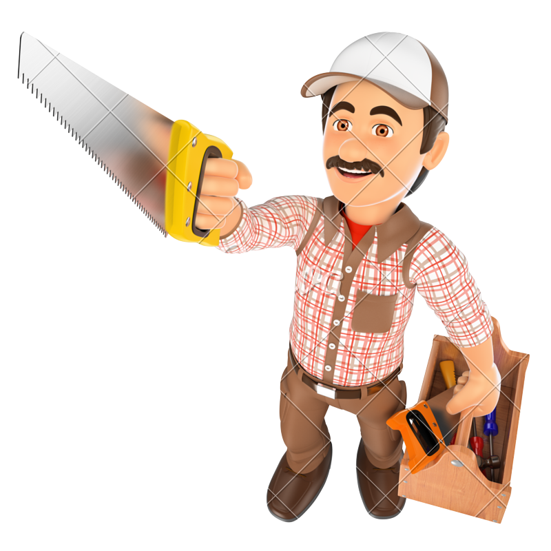d with saw. Contractor clipart carpenter