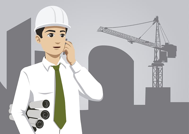 Engineer clipart engineer job. Man holding phone civil