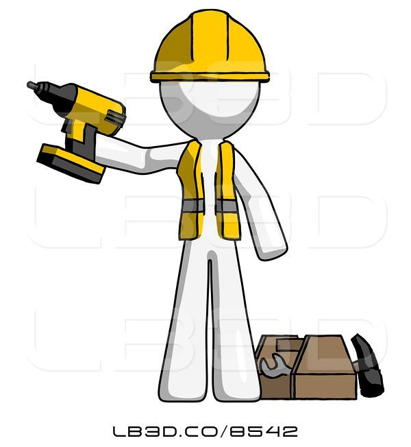 Illustration of white worker. Contractor clipart construction equipment tool