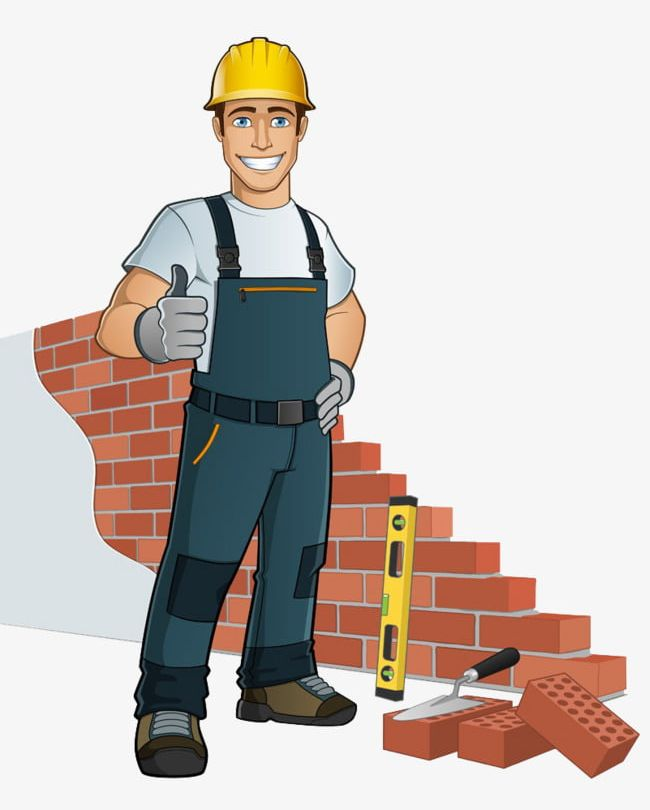 Contractor clipart drywall tool. Workers png cartoon characters