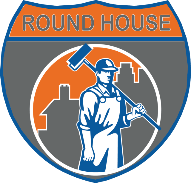 Home round house logo. Contractor clipart drywall tool