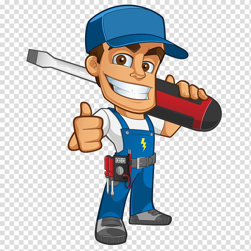 Man doing thumbs up. Contractor clipart electricity