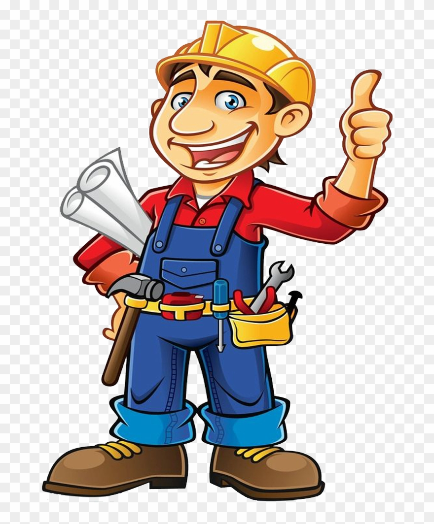Construction worker cartoon . Contractor clipart engineering