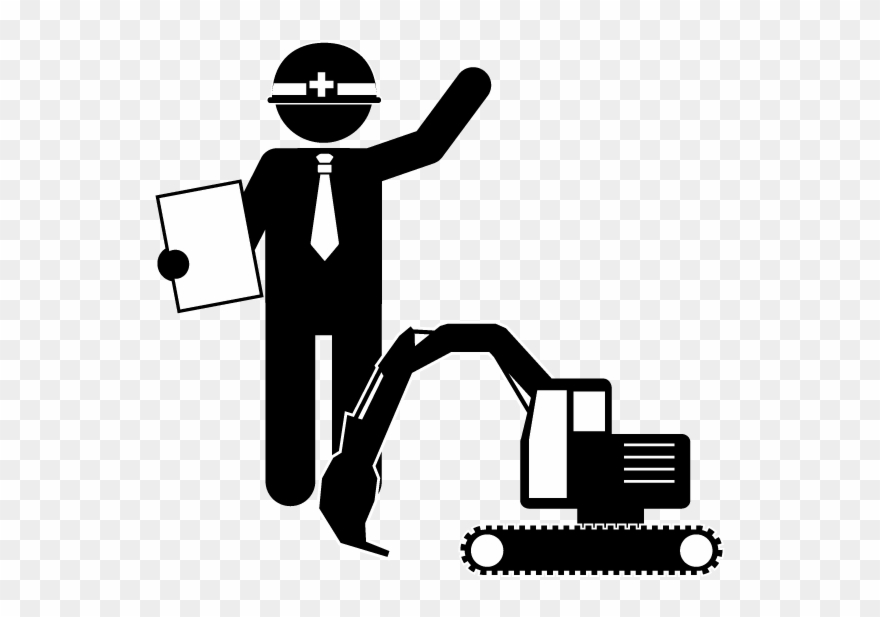 Civil construction management engineer. Contractor clipart engineering