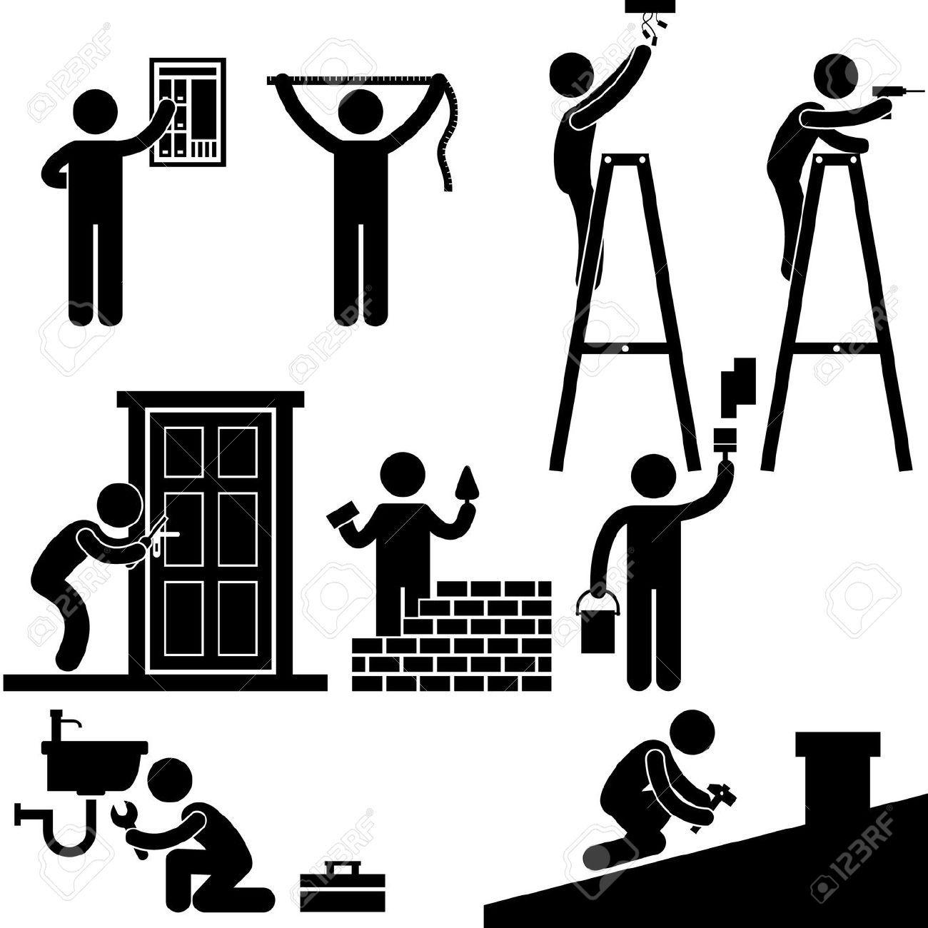 Mechanic clipart stick figure. Stock vector cartoon home
