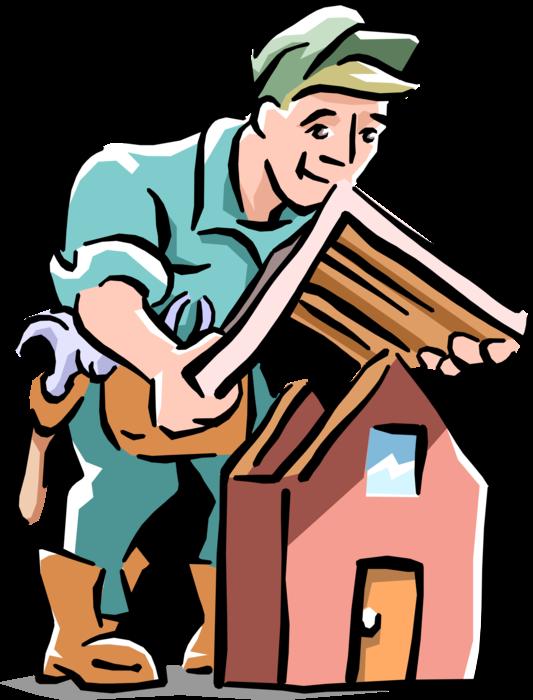 Contractor clipart home improvement. Installs new roof vector