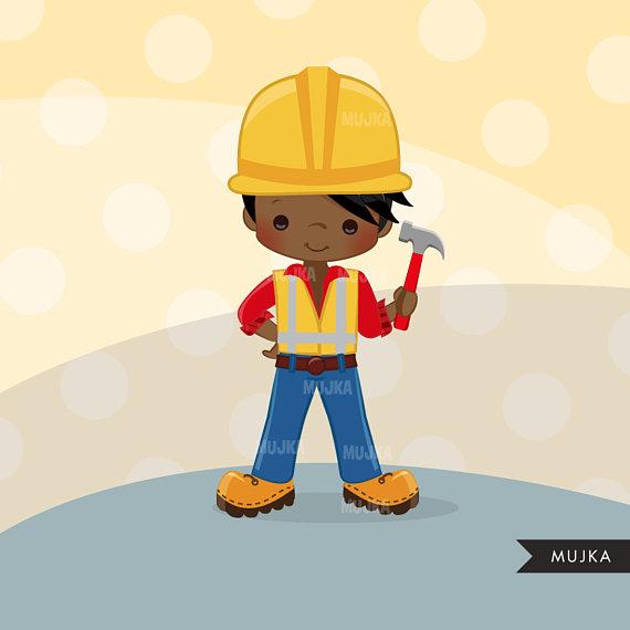 Construction little boy graphics. Contractor clipart kid
