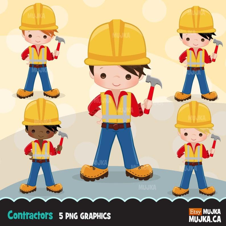 Contractor clipart maintenance department. Construction little boy graphics