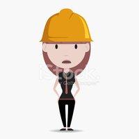 Worker engineer character stock. Contractor clipart sad