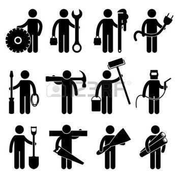 Stock vector architect jobs. Mechanic clipart skilled