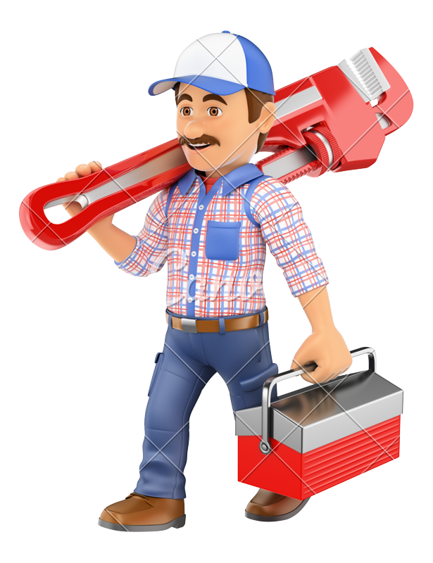 Walking with a pipe. Mechanic clipart female plumber