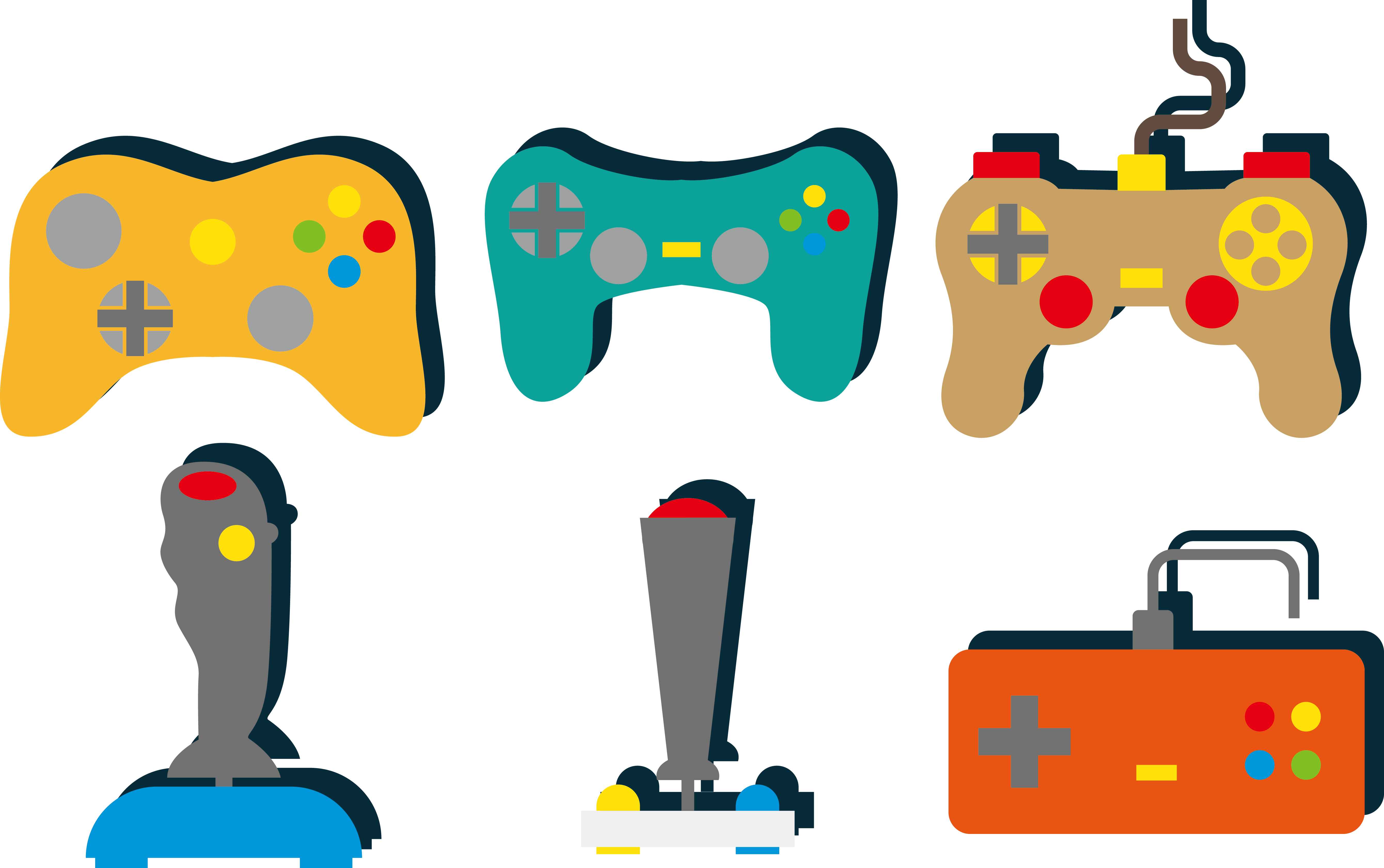 Joystick controller color handle. Donut clipart video game