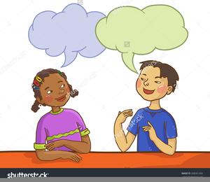Two children talking free. Conversation clipart child conversation