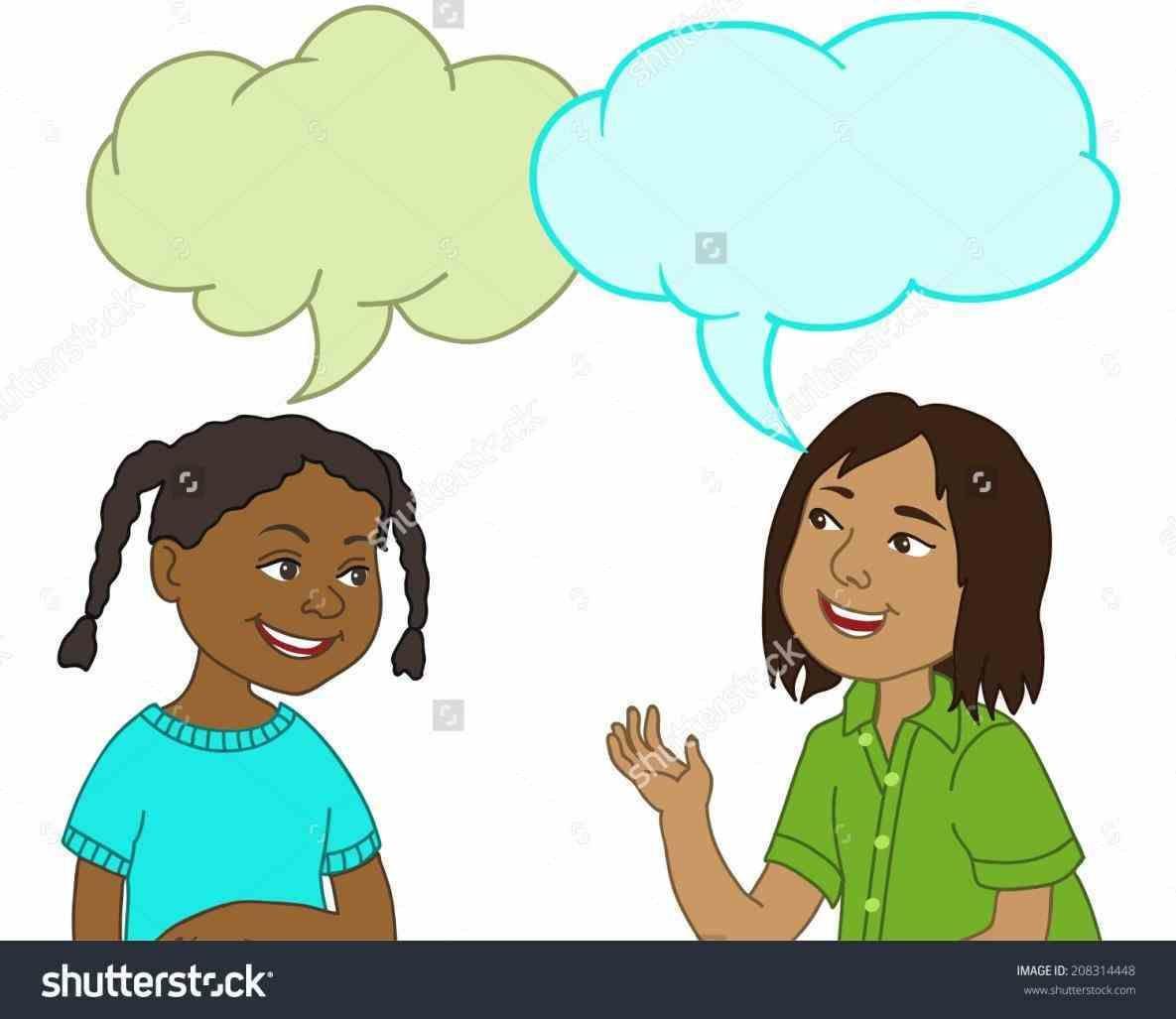 Conversation clipart child conversation. Next two kids talking