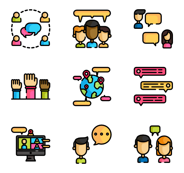 Conversation clipart chit chat. Icons free vector discussion
