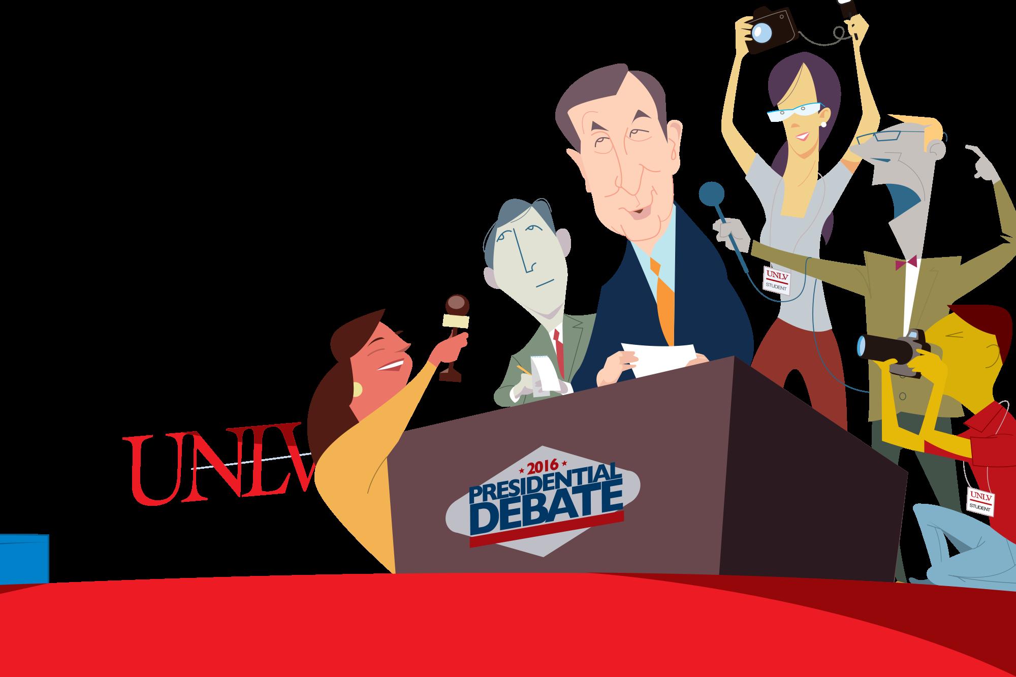 The vegas style news. Conversation clipart class debate